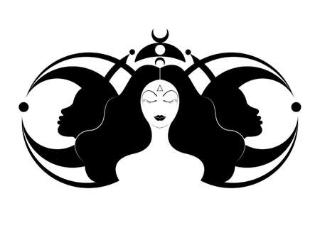 Wiccan woman icon, Triple goddess symbol of moon phases. Hekate, mythology, Wicca, witchcraft. Triple Moon Religious Wiccan sign. Neopaganism symbol logo. Crescent, half and full moon, vector isolated 向量圖像