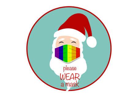 Santa Claus head label wear lgbt colorful surgical mask. Merry Christmas, Santa logo design coronavirus protection, covid-19, Christmas Pride rainbow mask concept, vector isolated on blue background 向量圖像