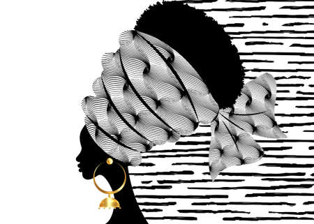 portrait beautiful African woman in traditional turban handmade tribal motif, Kente head wrap African with gold earrings, black women Afro curly hair, vector silhouette isolated on white background