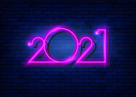 2021 New Year glowing pink neon signboard on blue brick wall. Vector illustration Happy New Year neon realistic sign banner
