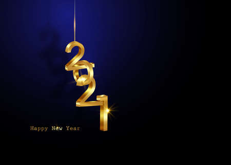 Golden 2021 New Year 3D logo, interlocking numbers. Christmas theme, vector illustration. Holiday design for greeting card, invitation, calendar, party, gold luxury vip, isolated on blue background 向量圖像