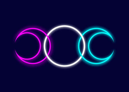 Triple Moon Religious Wiccan neon sign. Wicca logo Neopaganism symbol, Triple Goddess icon tattoo, Goddess of the Moon, the Earth, and childbirth. Crescent, half, and full moon vector isolated on blue 向量圖像