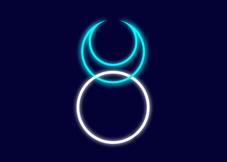 Horned God Wiccan neon sign. God of nature, wilderness, sexuality, hunting. Wicca deities Symbol consort Triple Goddess, moon horned taurus icon vector illustration isolated on dark blue background