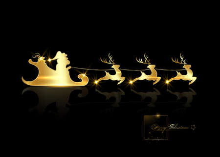Santa Claus riding on sleigh with reindeer. Gold luxury , Christmas, xmas, new year concept. Cartoon vector illustration isolated on black background 向量圖像