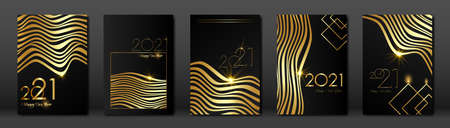 set cards 2021 Happy New Year, Gold Africa zebra texture, black modern background, elements for calendar and greetings card or Christmas themed winter holiday invitations with geometric decorations Illustration