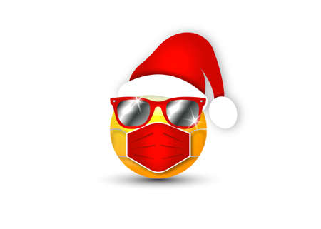Mask Character Santa Claus hat and sunglasses. Merry Christmas Icon. Emoji Style. Wear a medical mask for coronavirus protection. Vector Character Illustration isolated on white background
