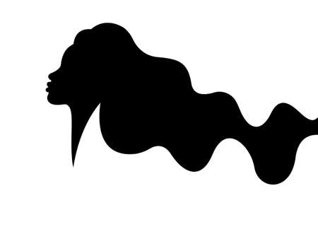 Beautiful woman profile with long wavy hair style, vector black silhouette, beauty concept  isolated on white background Illustration