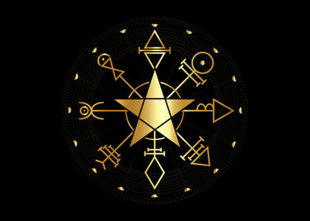 Gold First Pentacle of Venus, seals magical talisman. Sacred geometry. Golden Vegvisir compass mystical Characters of Venus amulet