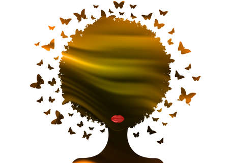 Beautiful African woman, gold sunset, Swarm of butterflies headdress in curly coiffed. Illustration