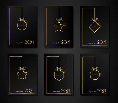 set cards 2021 Happy New Year gold texture, golden luxury black modern background, elements for calendar and greetings card or Christmas themed winter holiday invitations with geometric decorations
