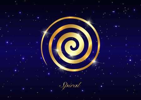 Gold Ancient Spiral, the Goddess creative powers of the Divine Feminine, and the never ending circle of creation. Wiccan fertility symbol isolated on blue starry night sky background