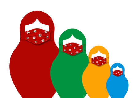 Set Russian nesting dolls matrioshka wearing surgical mask for coronavirus protection, set icon colorful symbol of Russia Christmas theme, vector isolated on white background