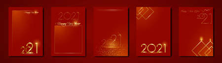 set cards 2021 Happy New Year gold texture, golden luxury red modern background