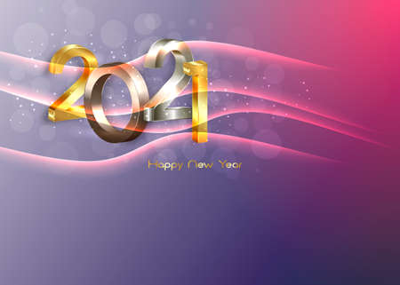 2021 golden, bronze and silver bold letters. New Year 3D logo for Holiday greeting card.
