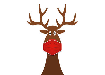 Festive Christmas reindeer wearing face mask for Corona virus protection. Christmas cartoon and reindeer with surgical mask in flat style. Vector isolated on white background Illustration