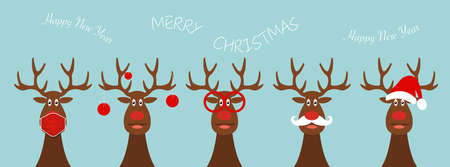 Set of funny Christmas reindeer in red hat, white mustache, round glasses, xmas balls, medical mask for coronavirus pandemic protection. 2021 Happy new year theme for children in flat vector design