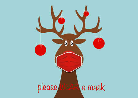 Festive Christmas reindeer wearing face mask for Corona virus protection. Christmas tree cartoon reindeer with surgical mask in flat style and xmas balls decoration Vector isolated on blue background