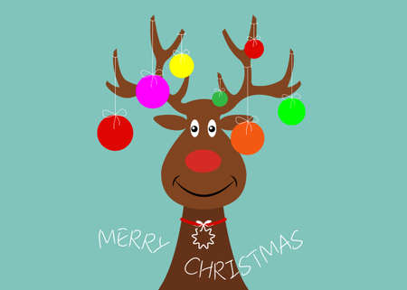 Festive Christmas reindeer wearing Christmas tree with decorative colorful balls on his horns. Holiday theme for children, vector character flat design cartoon isolated on blue background