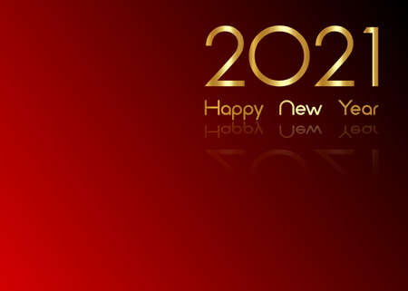2021 New Year gold numbers business template. Christmas theme, vector illustration. Holiday design for greeting card, invitation, calendar, party, gold luxury vip, isolated on red background
