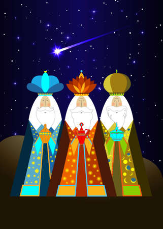 Three wise men Christmas. Three biblical Kings, Caspar, Melchior and Balthazar. Bethlehem Nativity concept, Epiphany is a Christian festival. The Gift of the Magi vector isolated on blue sky and comet