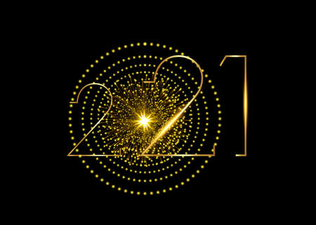 2021 Happy New Year with gold neon texture, modern background, vector isolated or black background, sparkling elements for calendar and greetings card or Christmas themed luxury golden invitations Illustration