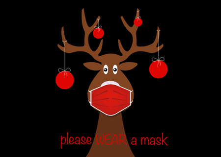 Festive Christmas reindeer wearing face mask for Corona virus protection. Christmas tree cartoon reindeer with surgical mask in flat style and xmas balls decoration Vector isolated black background Illustration