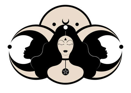 Wiccan woman icon, Triple goddess symbol of moon phases. Hekate, mythology, Wicca, witchcraft. Triple Moon Religious Wiccan sign. Neopaganism symbol logo. Crescent, half and full moon, vector isolated Illustration