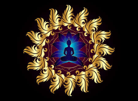 Buddha silhouette in lotus position over gold ornate mandala lotus flower. Vector illustration isolated on black background. Buddhism esoteric motifs, Chakra concept, spiritual yoga