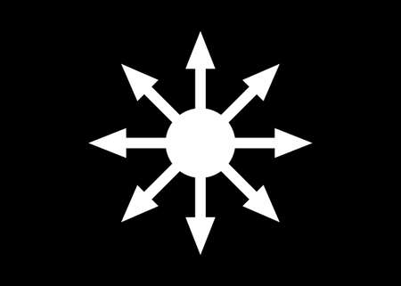 Symbol of Chaos white vector isolated on black background. A symbol originating from The Eternal Champion, later adopted by occultists and role-playing games Illustration