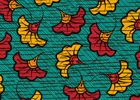 African Wax Print fabric, Ethnic handmade ornament design, tribal pattern motifs floral elements. Vector texture, afro colorful textile Ankara fashion style. Pareo wrap dress wedding flowers Illustration
