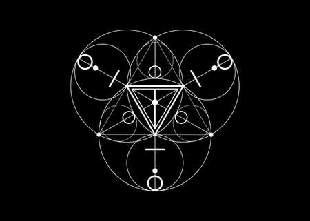 Magic Alchemy symbols, Sacred Geometry. Mandala religion, philosophy, spirituality, occultism concept. Linear triangle with lines and overlapping circles, print vector logo isolated black background Illustration