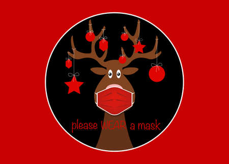 Festive Christmas reindeer wearing face mask for Corona virus protection. Christmas tree cartoon reindeer with surgical mask in flat style and xmas balls decoration black round vector isolated on red