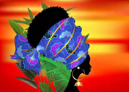 portrait beautiful African woman in traditional turban tribal motif wedding flowers, Kente head wrap African with ethnic earrings, black women Afro curly hair vector isolated on sunset and palm leaves