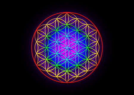 Flower of Life, Yantra Mandala, Metatron cube, Sacred Geometry. Bright glowing spectrum psychedelic colored symbol of harmony and balance. Vector isolated on black background