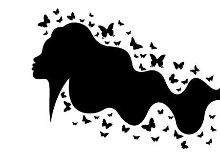 Beautiful woman profile with long wavy hair style and butterflies, vector black silhouette with long butterfly hair, beauty concept logo isolated on white background