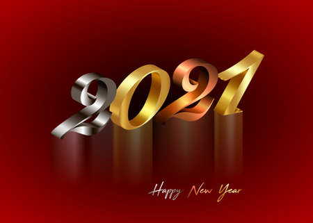 2021 golden, bronze and silver numbers. Happy New Year 3D logo for Holiday greeting card. Vector illustration isolated on red background for banner, invitation, calendar, party, gold luxury vip icon Illustration