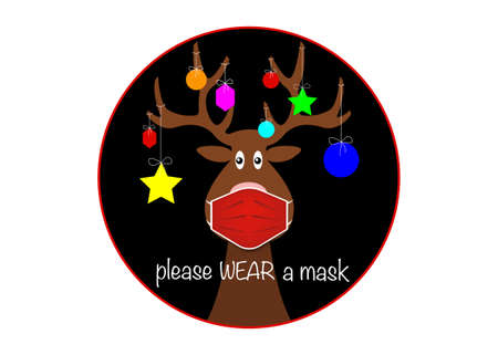 Festive Christmas reindeer wearing face mask for Corona virus protection. Label cartoon reindeer with surgical mask, flat style and colorful xmas balls decoration black round vector isolated on white