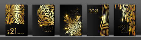 set cards 2021 Happy New Year gold texture, golden luxury black modern background, elements for calendar and greetings card or Christmas themed winter holiday invitations with fashion decorations Illustration