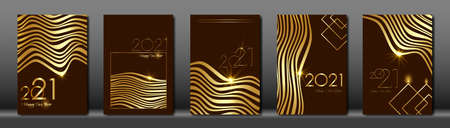 set cards 2021 Happy New Year, Gold Africa zebra texture, brown modern background, elements for calendar and greetings card or Christmas themed winter holiday invitations with geometric decorations