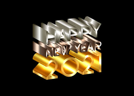 2021 Happy New Year, number and text 3D logo, gold, bronze, silver texture. Holiday greeting card. Vector illustration isolated on black background for banner, invitation, calendar, party, vip card Illustration