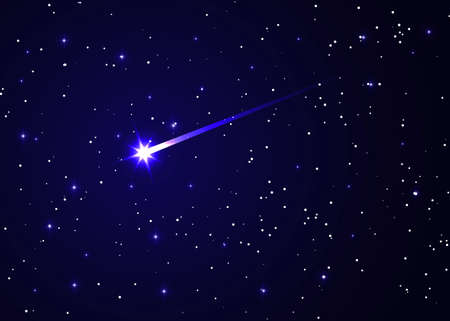 shooting star background against dark blue starry night sky, brightest star in the Sky vector illustration, Conjunction of Comet and Galaxy Illustration