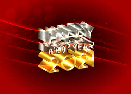 2021 Happy New Year, number and text 3D logo, gold, bronze, silver texture. Holiday greeting card. Vector illustration isolated on red background for banner, invitation, calendar, party, vip card