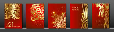 set cards 2021 Happy New Year gold texture, golden luxury red modern background, elements for calendar and greetings card or Christmas themed winter holiday invitations with tree floral decorations