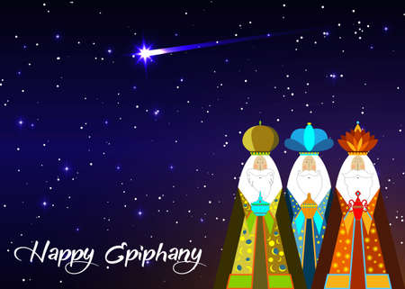 Three wise men Christmas. Three biblical Kings, Caspar, Melchior and Balthazar. Bethlehem Nativity, Happy Epiphany is a Christian festival. The Gift of the Magi vector isolated on blue sky and comet