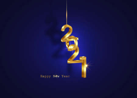 Golden 2021 New Year 3D logo, interlocking numbers. Christmas theme, vector illustration. Holiday design for greeting card, invitation, calendar, party, gold luxury vip, isolated on blue background Illustration