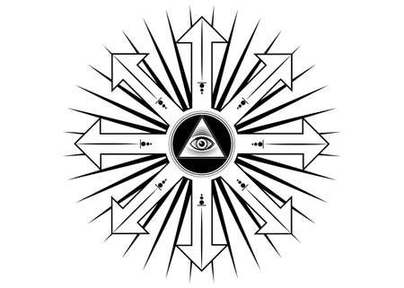 Ancient magical sigil, occult mystic symbol of chaos for witchcraft and black magic. Sacred Masonic all Seeing eye, the third eye. Vector tattoo isolated on white background