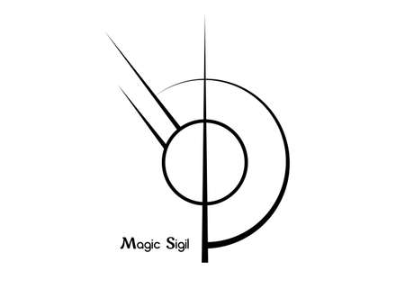 Sigil sigil for protection, wiccan symbolisms. A stylized image of a magic symbol. Can be used in graphic design or tattoo as well as logo. Vector isolated on white background Illustration