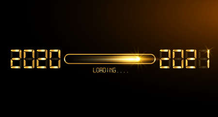 Happy new year 2020 with loading to up 2021. Gold led neon digital time style. Progress bar almost reaching new year's eve. Vector illustration with display 2021 loading isolated or black background Illustration