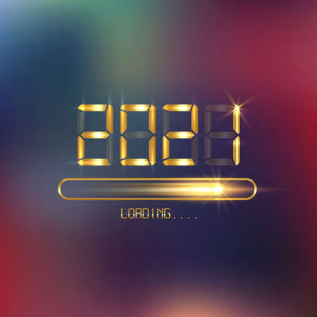 Happy new year 2021 with loading icon in flat gold led neon digital time style. Progress bar almost reaching new year's eve. Vector display golden 2021 loading isolated or colorful luxury background Illustration