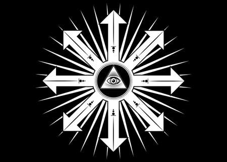 Ancient magical sigil, occult mystic symbol of chaos for witchcraft and black magic. Sacred Masonic all Seeing eye, the third eye. Vector tattoo isolated on black background